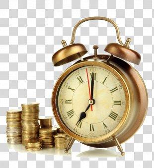 Alarm Clock Pendulum Clock Mantel Clock Hourglass - Alarm Clock And Coins PNG