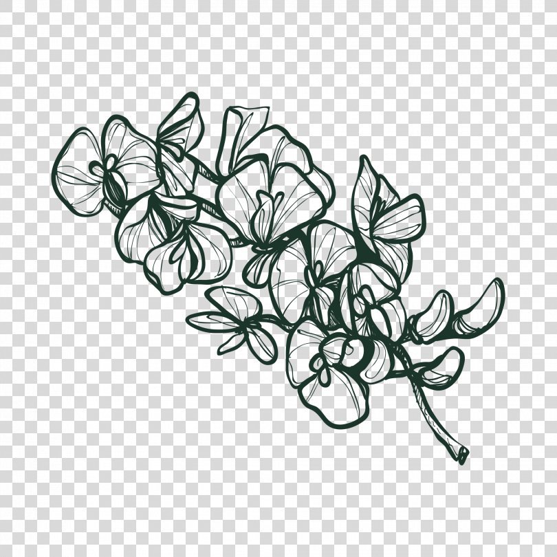 Drawing Flower Image Sketch Vector Graphics, Massive Flowers PNG