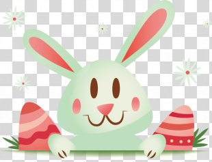 Easter Bunny Rabbit Easter Egg - Easter Bunny Ears Pink Cartoon Vector Material PNG