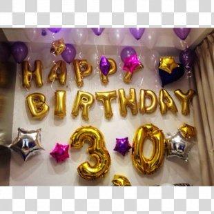 Balloon Corner Birthday Numerical Digit Jewellery - Balon Gold PNG