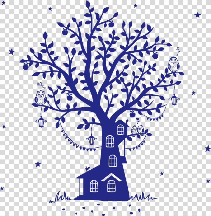Fairy Tale Wall Decal Silhouette Tree House, Vector Blue Owl Tree House PNG