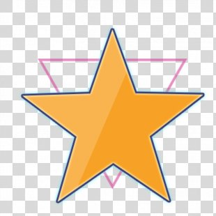 Gold Star Sticker - Five-pointed Star And Triangle PNG