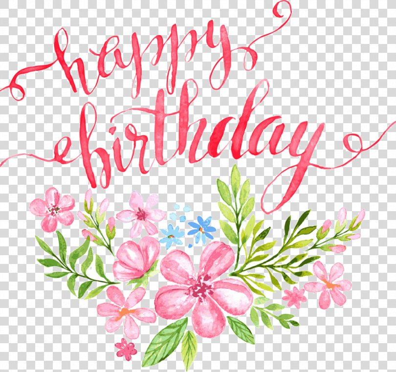 Birthday Calligraphy Greeting Card Illustration, Flowers Happy Birthday Letters Buckle Clip Free HD PNG
