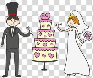 Wedding Cake Wedding Invitation Bridegroom - Cartoon Wedding Cake With The Bride And Groom Vector Material PNG