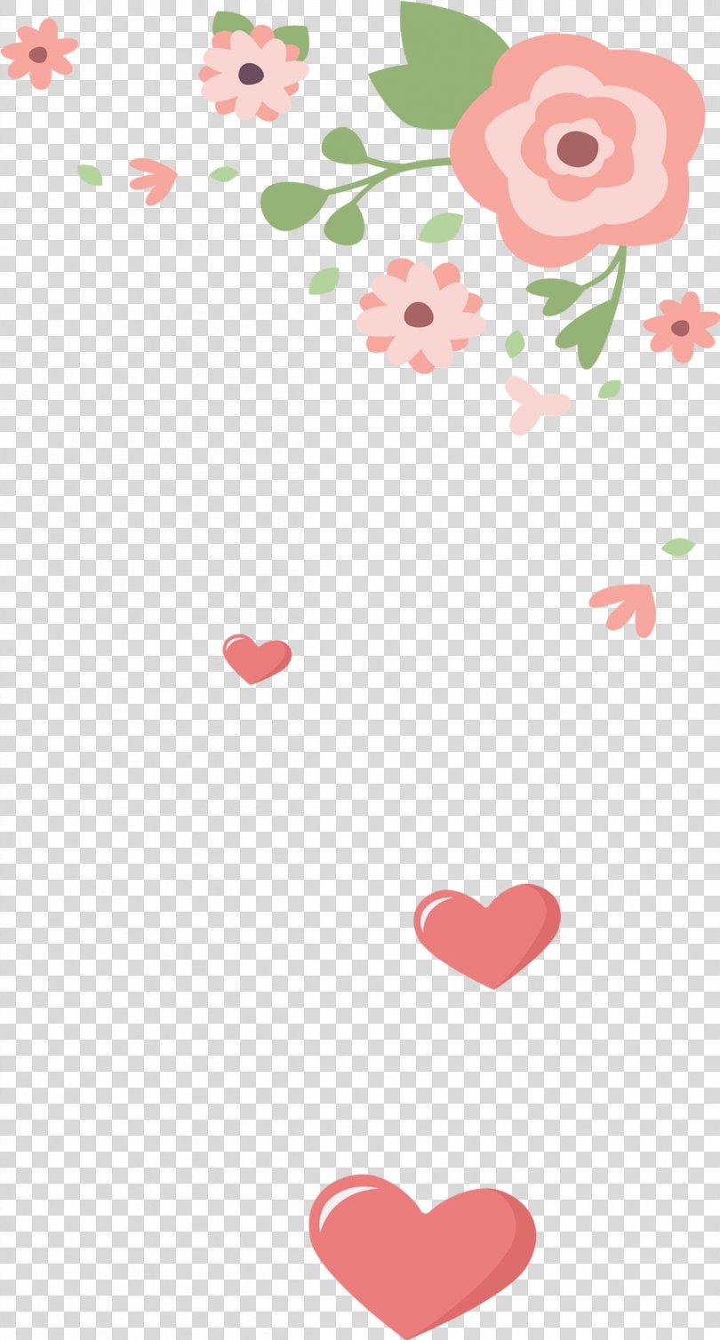 Flower Heart Pattern, Heart background PNG