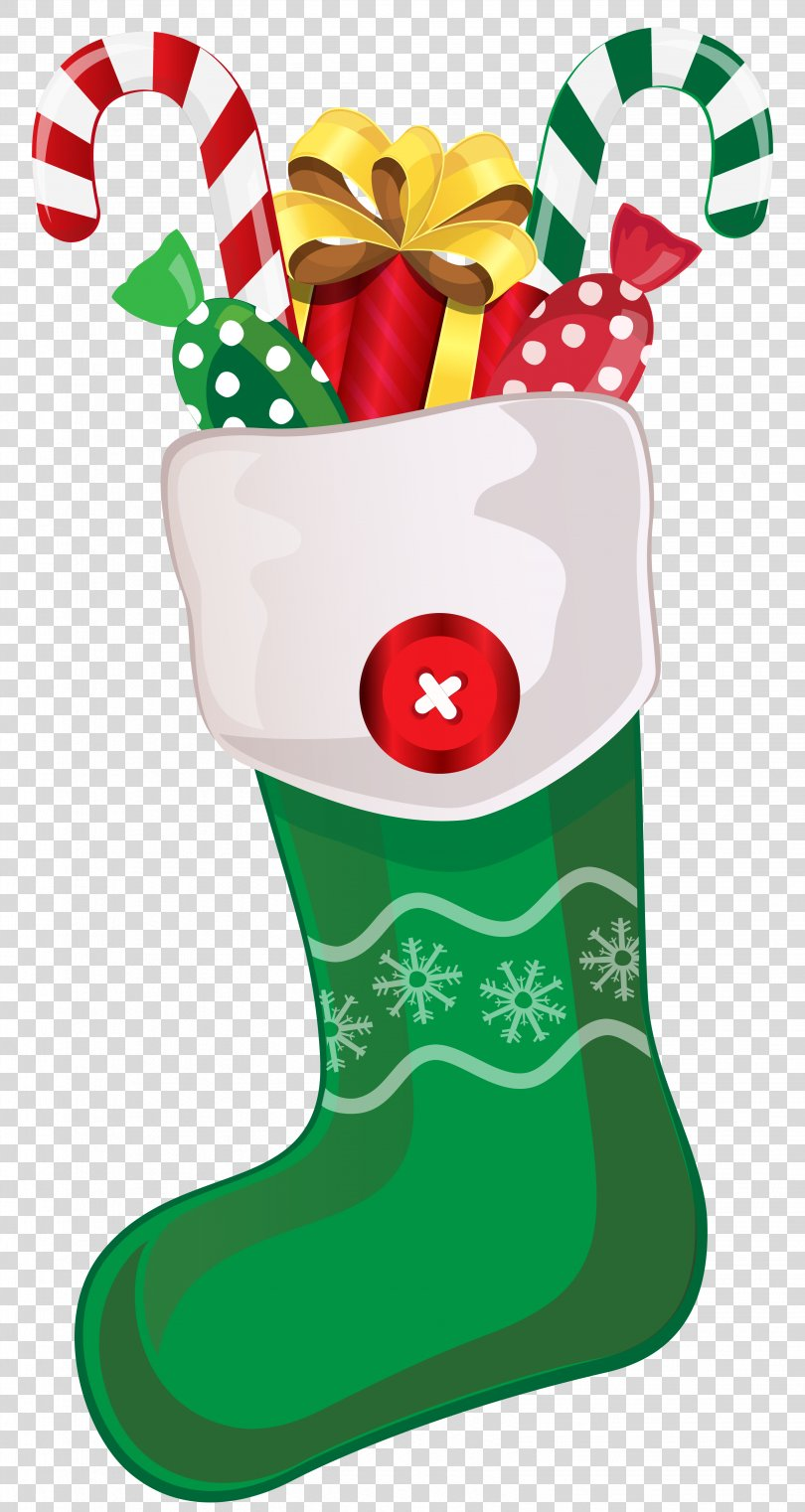 Candy Cane Christmas Stocking Clip Art, Christmas Green Cliparts PNG