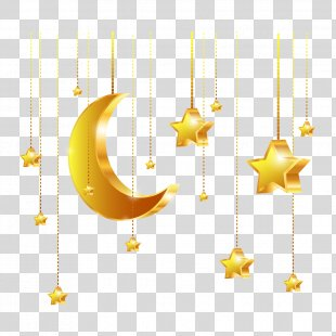 Golden Stars Euclidean Vector - Vector Golden Stars And The Moon PNG