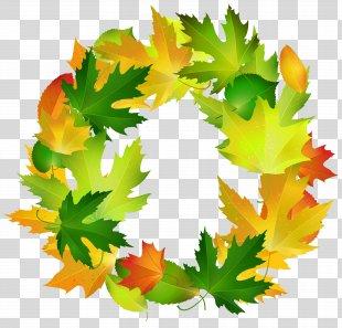 Leaf Border Oval Clip Art - Fall Leaves Oval Border Frame Clipart Image PNG