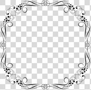 Clip Art Black & White - M Pattern Picture Frames Flower PNG