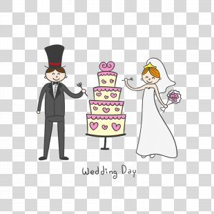Wedding Cake Wedding Invitation Bridegroom - Cartoon Bride And Groom And Wedding Cake PNG