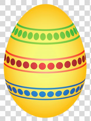 Easter Egg Clip Art - Yellow Colorful Dotted Easter Egg Clipairt Picture PNG