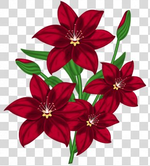 Borders And Frames Flower Clip Art - Red Flowers Cliparts PNG