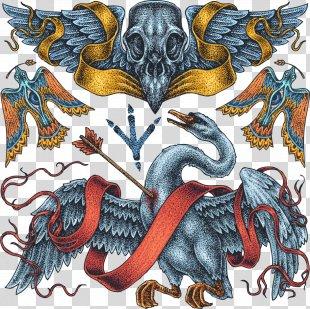 Cygnini Old School (tattoo) Drawing - Vector Swan And Skull Tattoo PNG