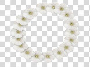 White Flower Picture Frame Lei - White Flower Frame Photo PNG