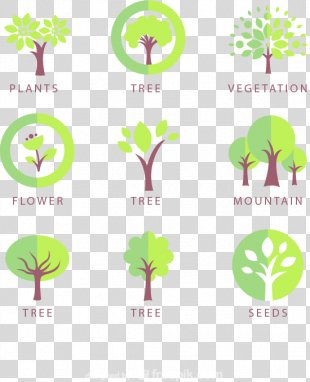 Tree Icon Design Logo Icon - 9 Trees Design Icon Vector Material PNG