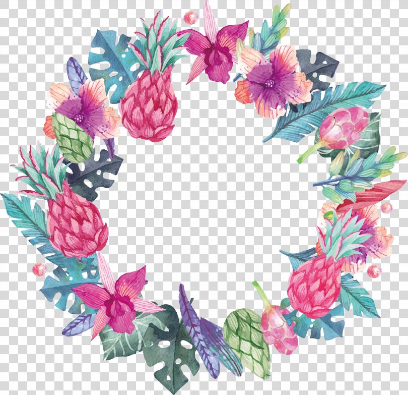 Wedding Invitation Plants, Watercolor Plant Decoration Box PNG, Free Download