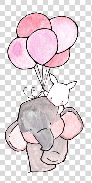 Paper Nursery Drawing Printing Illustration - The Elephant And The White Rabbit PNG