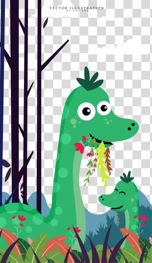 Animal Cartoon Illustration - Cute Cartoon Dinosaur Illustration PNG