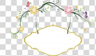 Hashtag Eating - Fresh Flowers Hand-painted Border PNG