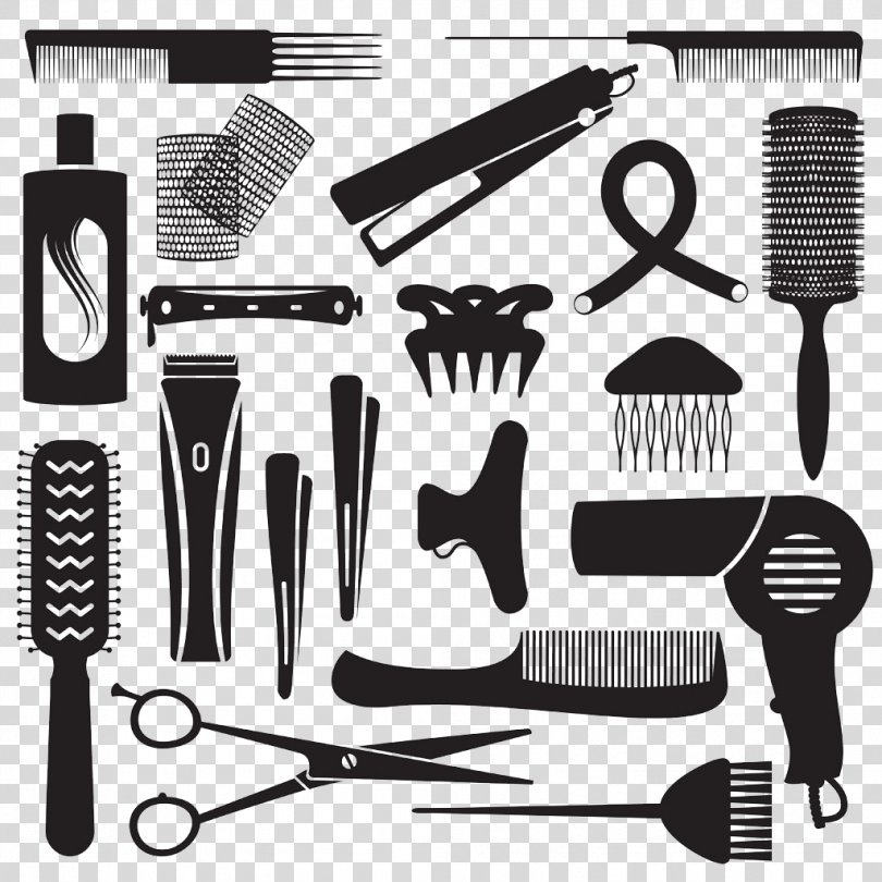Barbershop Hairdresser Canvas Hairstyle Pattern, Silhouette Hair Tools PNG, Free Download