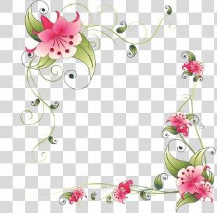 Border Flowers Pink Flowers Clip Art - Floral Frame PNG