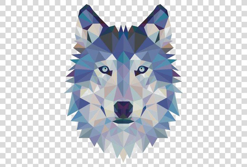 Gray Wolf Sticker Wall Decal Modern Art, Geometric Wolf Avatar PNG