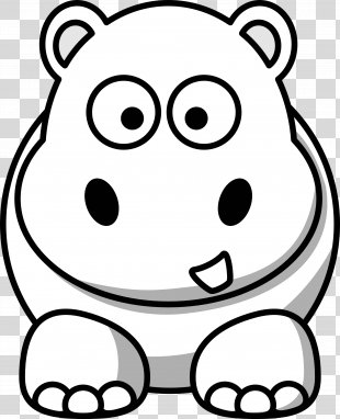 Animal Cuteness Black And White Clip Art - Cute Hippo Cliparts PNG