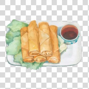 Spring Roll Breakfast Food - Spring Rolls, Hand Painting Material Picture PNG