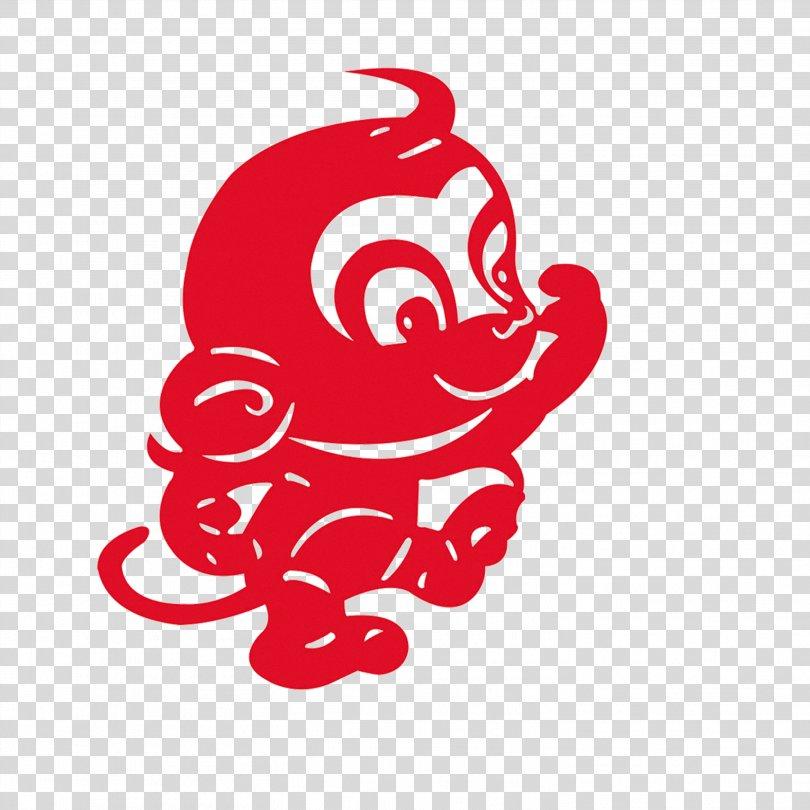 Papercutting Monkey Chinese New Year Fu, Creative Monkey PNG