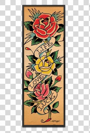 Tattoo Flash Ed Hardy Tattoo Artist Floral Design - Design PNG