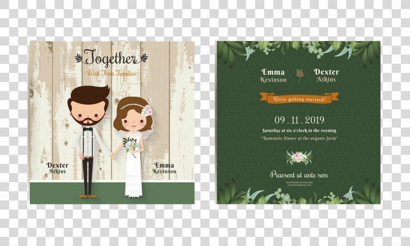 Wedding Invitation Bridegroom Illustration, Exquisite Cartoon Wedding Invitation Design Vector Material PNG, Free Download