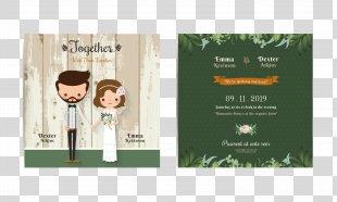 Wedding Invitation Bridegroom Illustration - Exquisite Cartoon Wedding Invitation Design Vector Material PNG