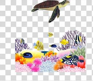 Sea Turtle Euclidean Vector - Sea Turtle Marine Life Scenery Vector Material PNG