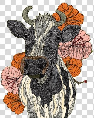 Watercolor Painting Canvas Print Drawing - Pattern Black And White Cow PNG