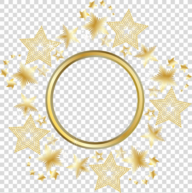 Circle Gold Star, Decorative Gold Star Round Frame PNG, Free Download