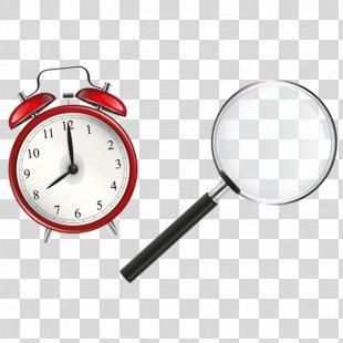 Alarm Clock Clip Art - Alarm Clock With A Magnifying Glass PNG