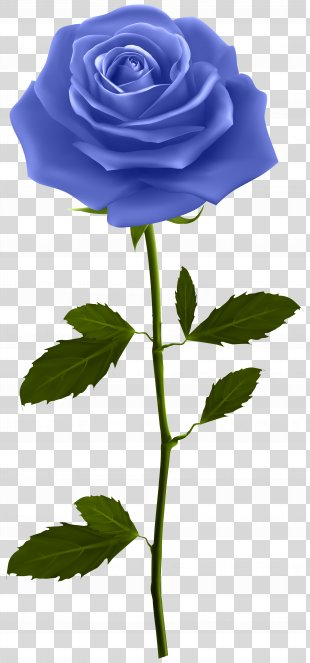 Rose Flower Clip Art - Blue Rose With Stem Clip Art Image PNG