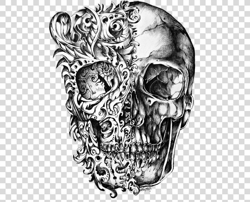 Calavera Skull Tattoo Drawing, Cool Skull Tattoo Design PNG, Free Download