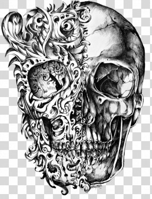 Calavera Skull Tattoo Drawing - Cool Skull Tattoo Design PNG