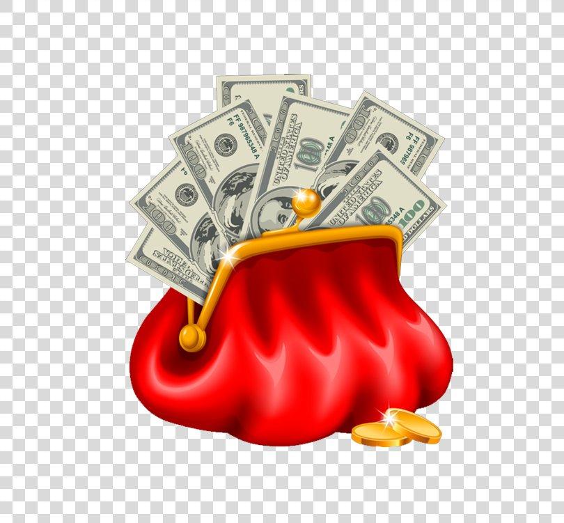Money Bag Coin Purse Clip Art, Red Purse PNG