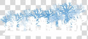 Winter Euclidean Vector Vecteur - Hand-painted Blue Vector Winter Woods PNG