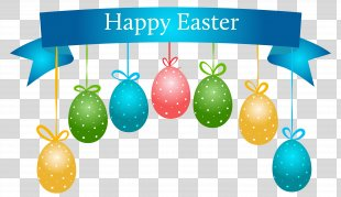 Easter Bunny Wedding Invitation Banner Clip Art - Happy Easter Banner With Hanging Eggs Transparent Clip Art Image PNG
