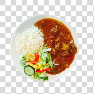 Indian Cuisine Asian Cuisine Food Dinner Dish - Curry Chicken Rice Bowl PNG