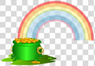 Gold Rainbow Clip Art - Green Pot Of Gold With Rainbow Clip Art Image PNG