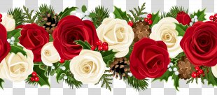 Rose Christmas Flower Clip Art - Christmas Rose Garland Clip Art Image PNG
