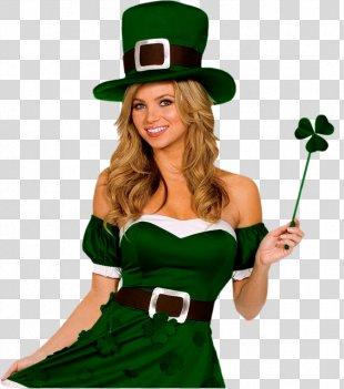 Saint Patrick's Day 17 March Woman Costume - Saint Patrick's Day PNG