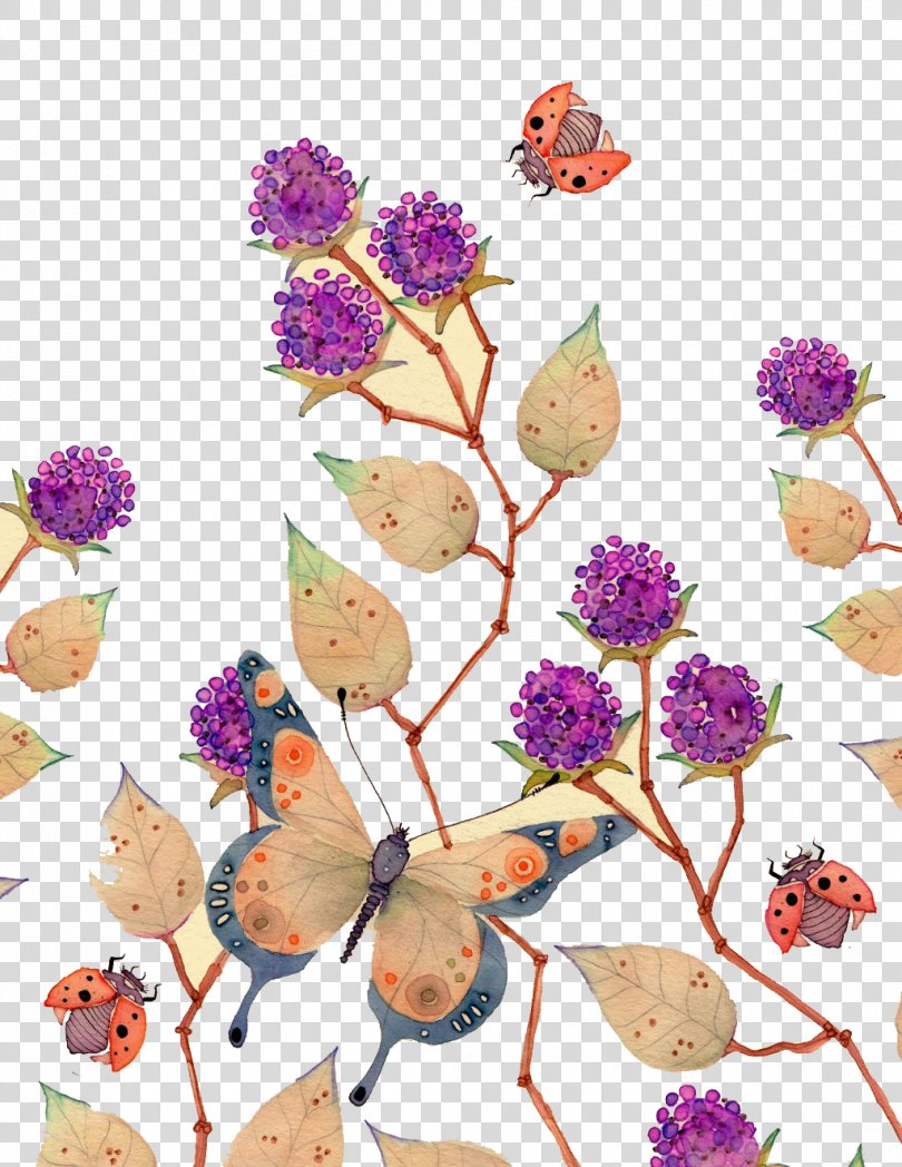 Watercolor Painting Illustrator Illustration, Purple Butterfly Flower Decoration PNG