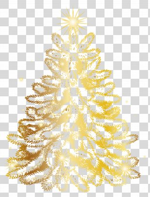 Christmas Tree Gold Clip Art - Christmas Gold Tree Transparent Clip Art Image PNG