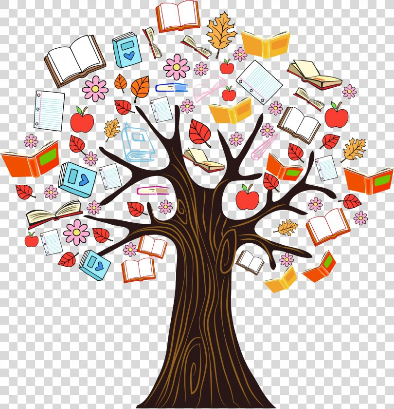 Book Tree Reading Clip Art, Color Book Knowledge Tree Vector Illustration PNG