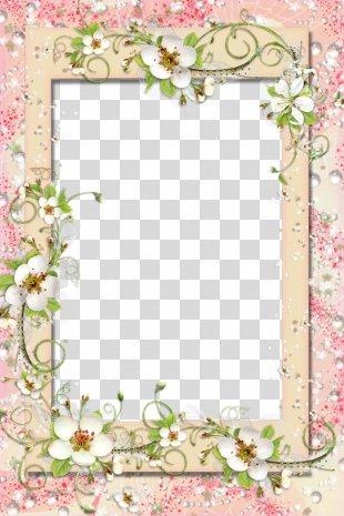 Picture Frames Flower Clip Art - Floral Border PNG